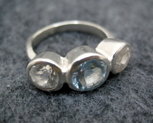 White topaz, aquamarine, and sterling silver ring from Etsy seller onegarnetgirl.