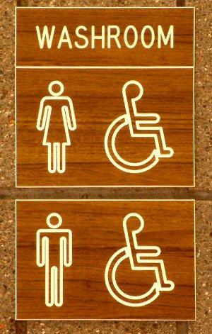 Bathroom Sign with Handicap Symbols