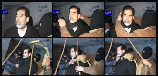 A combination of photo-frames showing the final moments before Saddam Hussein's hanging on December 30, 2006.