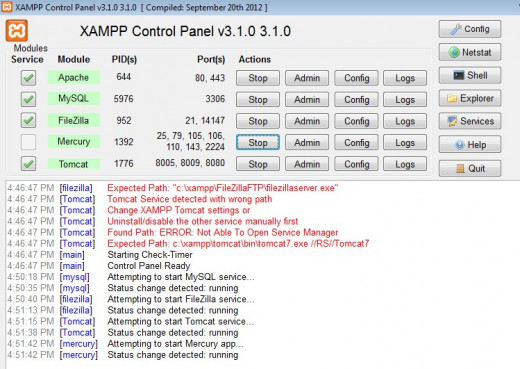 This is the XAMPP Console as it appears on a Windows system. The services for the various compnent: Apache, Tomcat, FileZilla, Mercury, and MySQL have been started.