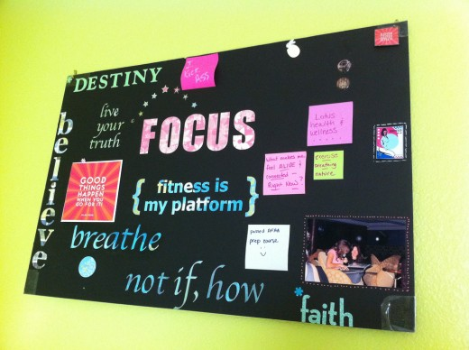 Creating a vision board and posting it helps many people visualize their goals.