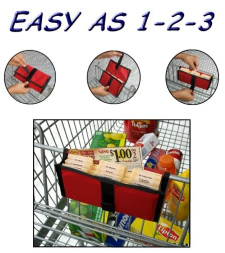 The Purse Size Deluxe Coupon Organizer Wallet can be attached anywhere on a grocery cart.  It comes in lots of vibrant and attractive designs and measures 4 and 1/2 by 8 inches.