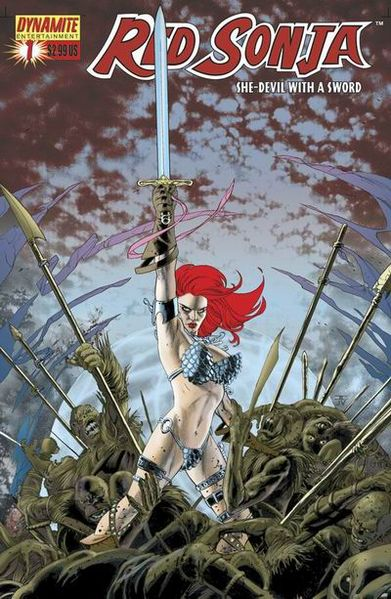 Cover to Red Sonja #1 (June 2005). Pencils by John Cassaday. Colors by José Villarrubia.