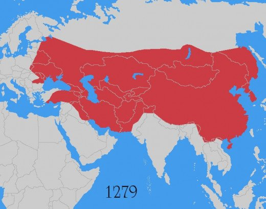The Mongol Empire in 1279.