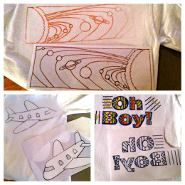 Iron-on transfers with shirts.