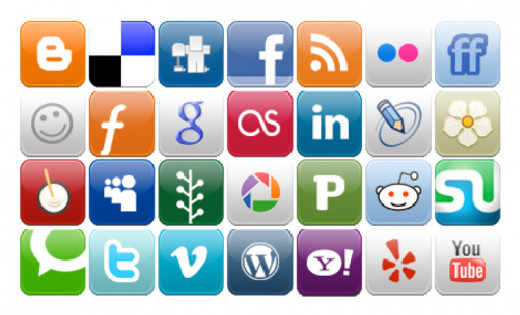 A Consolidated image of various logos of different social media companies.