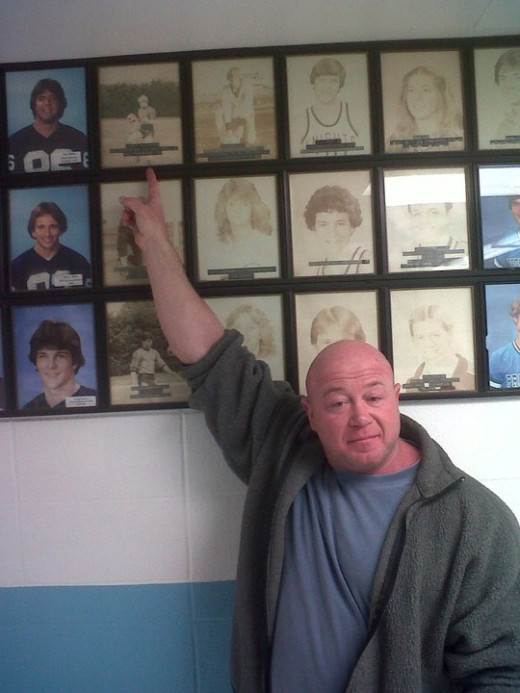 Me pointing at me in my return visit to Prospect High School for the first time in 30 years!