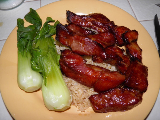 A basic, traditional Chinese dish before the ingredients are cut to serve.