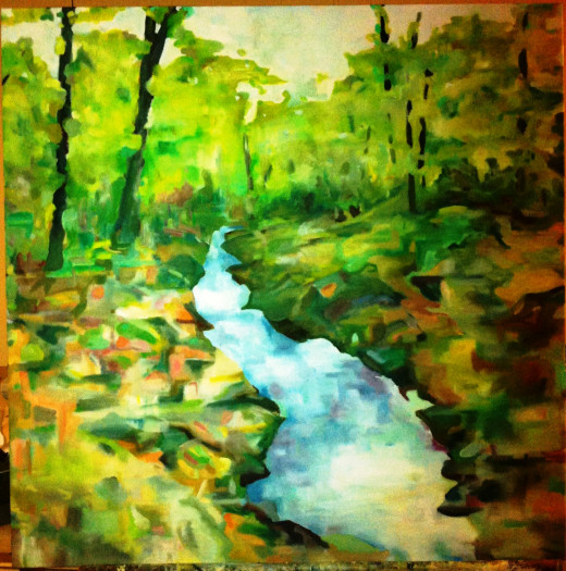 Vermont Stream, oil painting by John Chapdelaine