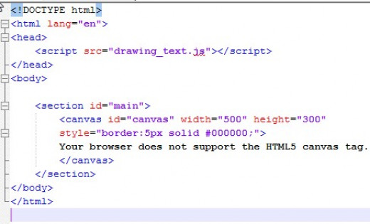 This is the HTML file assicated with the written canvas text illustrated in the next snapshot. Notice that we used a reference to the JavaScript code in the head rather than placing  it inline  in the HTML file.