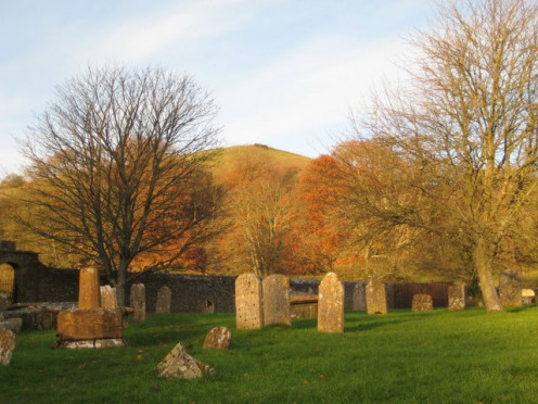 "View from the graveyard - Cerne Abbas Looking north-east towards Giant Hill or Trendle Hill as it was known. The graveyard is the final resting place of F J Harvey Darton (1878-1936), a lover of Dorset who wrote in 1922 ""The Marches of Wessex"". He w"