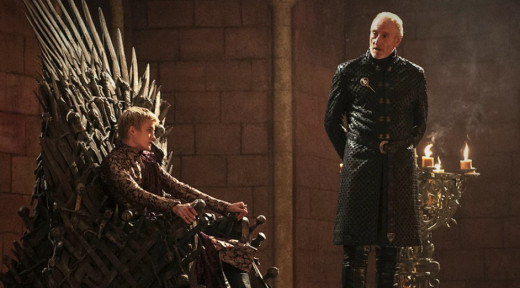 King Joffrey (Jack Gleeson) and his grandfather, Tywin Lannister (Charles Dance)
