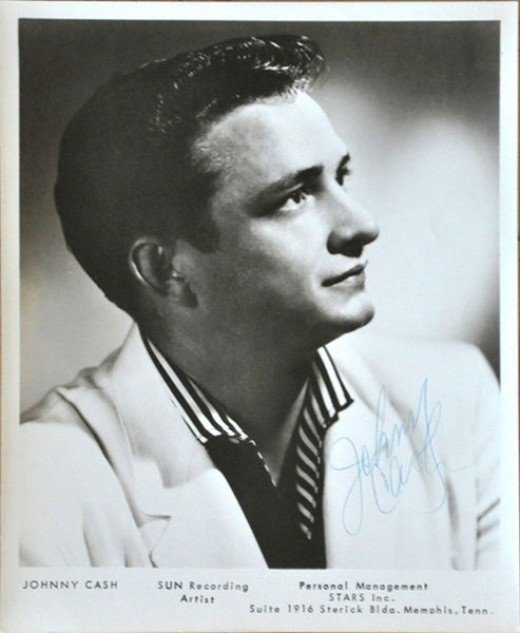 Promotional portrait for Sun Records showing a young Johnny Cash.