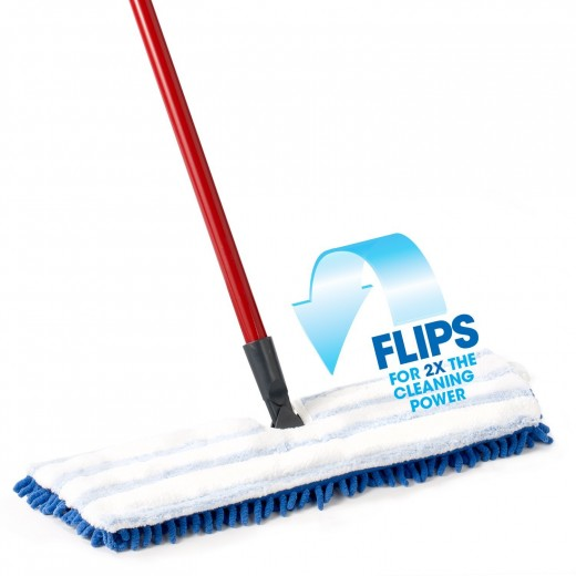 The dual action microfiber flip mop flips over so you can switch from the chenille to microfiber part and back.