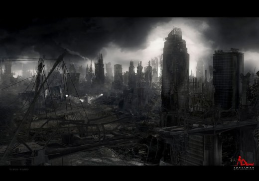 destruction after the initial rebellion in Panem between District 13 and The Capitol