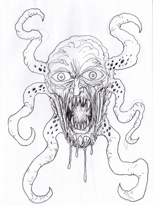 A Demon art ink drawing by Wayne Tully