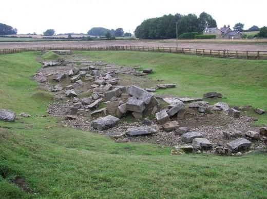 Piercebridge Roman Bridge Remains. This rubble was once part of a bridge that brought Dere Street over the River Tees