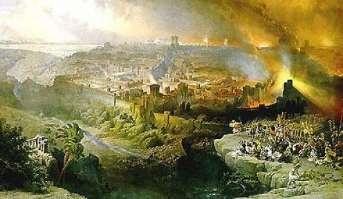 Christ coming in Judgement on Jerusalem. A painting by David Roberts. 1796-1849.