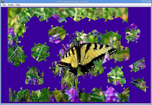 Jonathan Hulka, Unfinished jigsaw puzzle screenshot - butterfly on flowers, original photo by JS Nature Photos http://photos.jstechs.com/