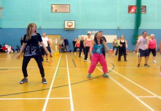 Zumba marathon: I am pictured on the left, front row, dressed in black, with my sister-in-law Liza next to me, at a charity Zumba marathon in the spring of 2012.