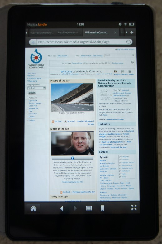 A Kindle Fire showing the Wikimedia Commons page with its browser