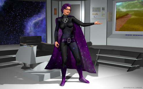 I took a stab at making an 'atheist superhero', inspired by the star ship of the imagination from 'Cosmos'.