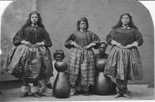 Hawaiian hula dancers c. 1885, photographed in J.J. Williams photo studio.