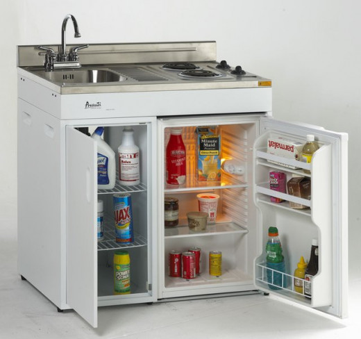 Compact Kitchen with Stove, Refrigerator, and Sink