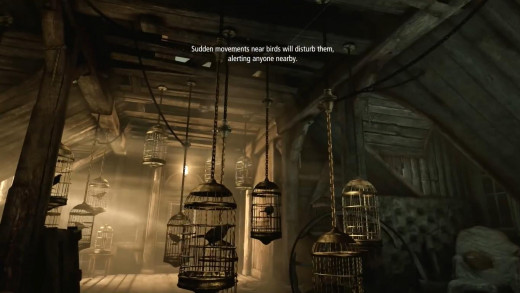 Caged birds operate like low-tech security cameras by making noise and alerting guards if you disturb them.