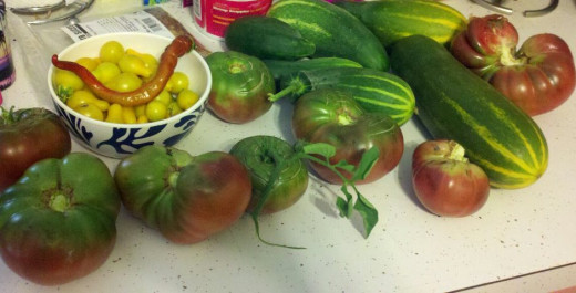 Tomatoes and Cucumbers from my garden