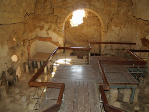 Masada bathhouse can be seen today as some of it still stands in the National Park
