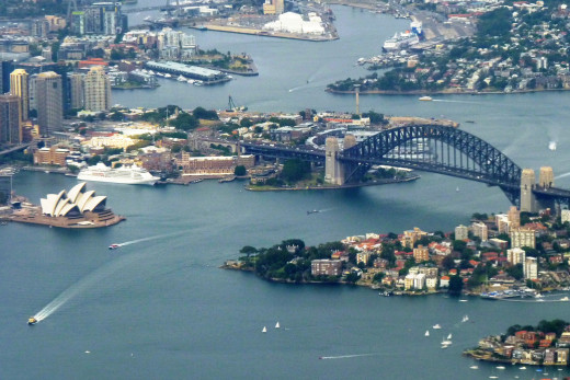 Of course you must recognize this - the Sydney Opera House with the Harbour Bridge. As you can see, the Sydney area consists of a lot of water, bays, harbours and bridges.