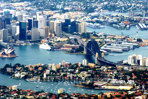 This view really shows how the land around Sydney is broken up with a lot of water, bays, harbours and bridges.