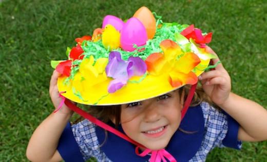 Colorful, egg nest Easter hat