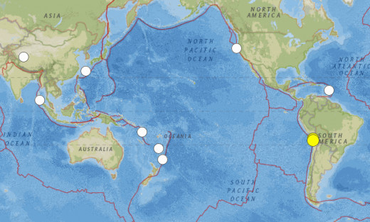 Significant earthquakes of 6.5 or greater magnitude for February 1, 2014 through April 3, 2014.