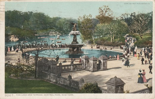 Divided back postcard view of Central Park, mailed in 1909.