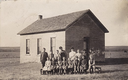 Real photo postcard of a Kansas school house, 1919.