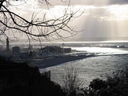 Rain on River Seine's estuary: Le Havre