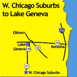 Map Chicago to Lake Geneva Wisonsin