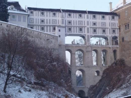 The ornate castle walkway