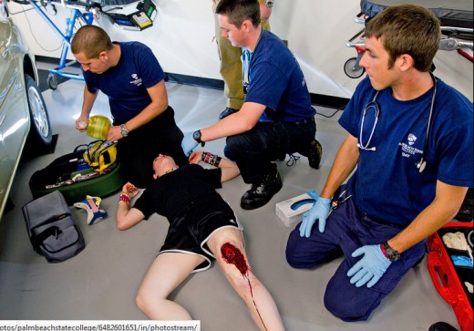 Palm Beach State College Students EMT Training