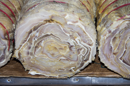 Salted meat at a market in Brazil.
