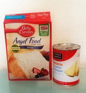 All you need for the basic ingredients are Angel Food Cake mix and a can of crushed pineapple.  Anyone can do it!