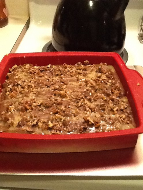 I add some chopped pecans in the mix. I also put some on top with evaporated milk, chocolate chunks and Carmel sauce! Yummy