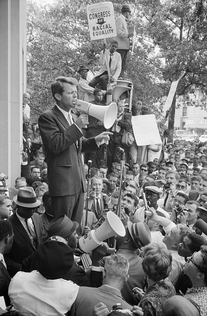 Robert F. Kennedy Campaigning for Equal Rights.