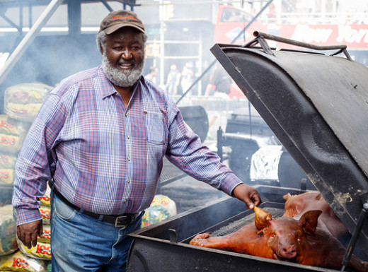 This man is a hero on the block where he lives because he is an expert at cooking great-tasting barbecue that is sure to please one and all who attend his barbecues.