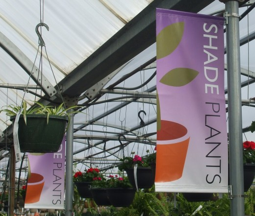 Helpful banners identifying major sections of Frey's Greenhouse.