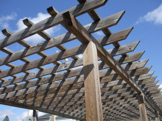 A pergola ready for hanging baskets.