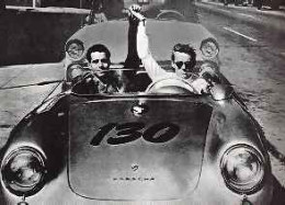 James Dean riding with Rolf Wutherich on the day he died.