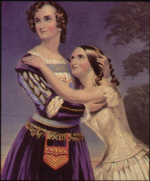 Ironically, this painting depicts the Cushman Sisters performing the roles in 1846. Yes, that is a woman dressed as Romeo.